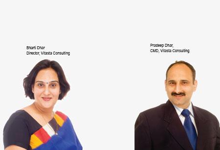 Bharti Dhar and Pradeep Dhar ,Directors,Vitasta-Consulting-Pvt-Ltd